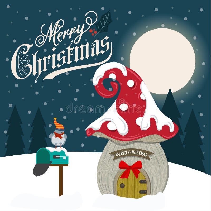 Beautiful flat design Christmas card with fairy house. Vector vector illustration