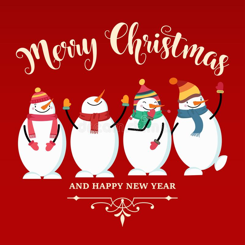 Beautiful flat design Christmas card with snowman and wishes. Christmas poster. Print. Vector royalty free illustration