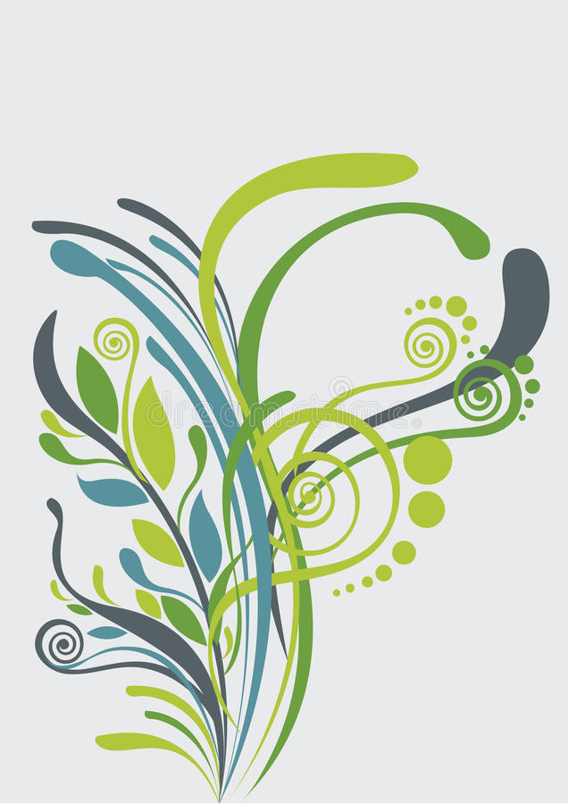 Beautiful floral abstract background in soft green vector illustration