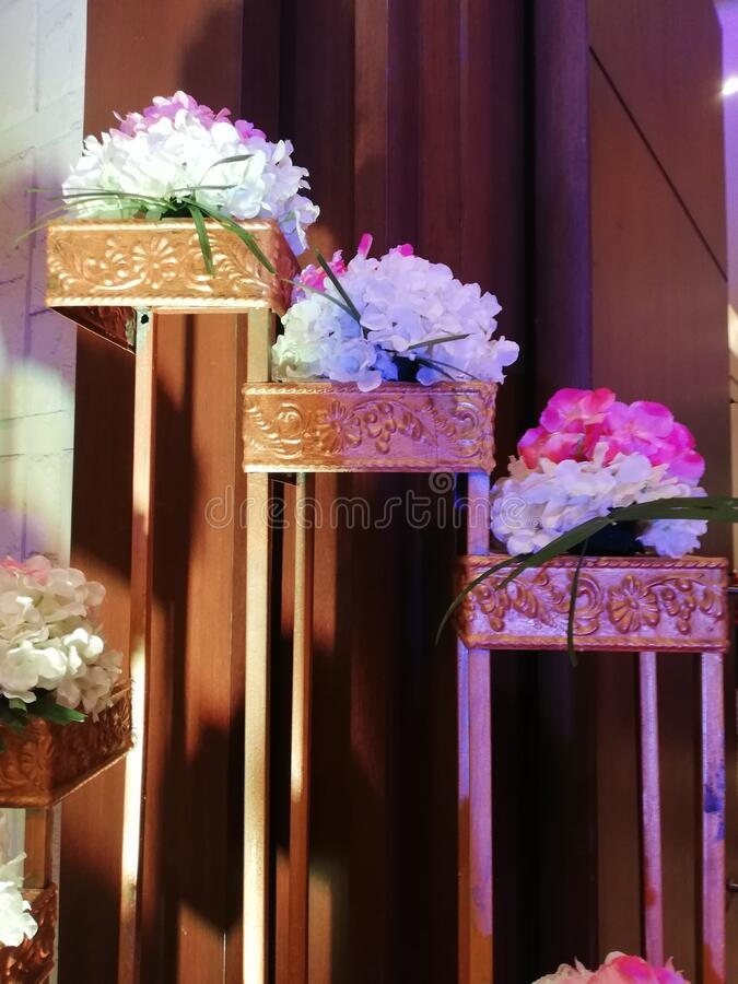 Beautiful floral decor at the entrance of a five star hotel in indore India stock images