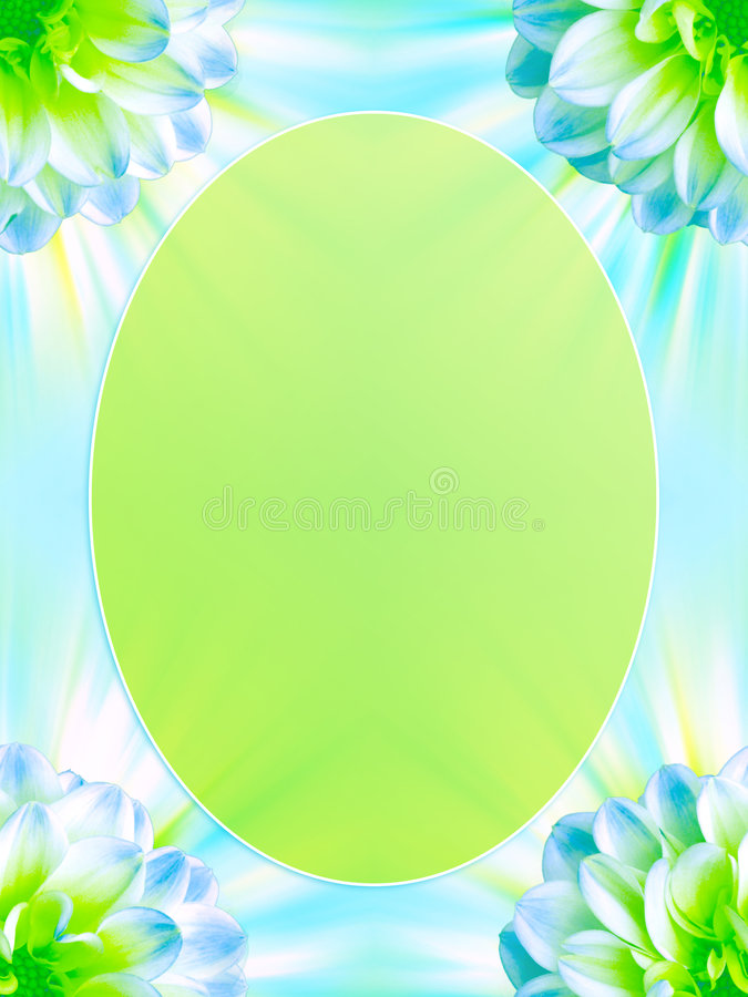 Beautiful Floral Frame. An illustrated oval frame with floral design in green and blue colors stock illustration