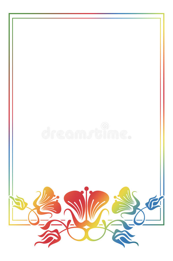Beautiful floral frame with gradient fill. Color silhouette frame for advertisements, wedding and other invitations or greeting cards. Raster clip art royalty free illustration