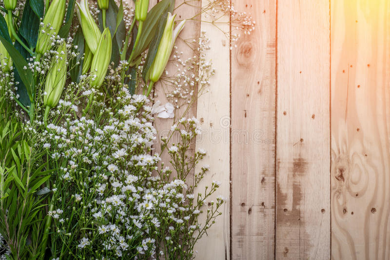Beautiful floral frame with lilies of the valley flowers on old royalty free stock images