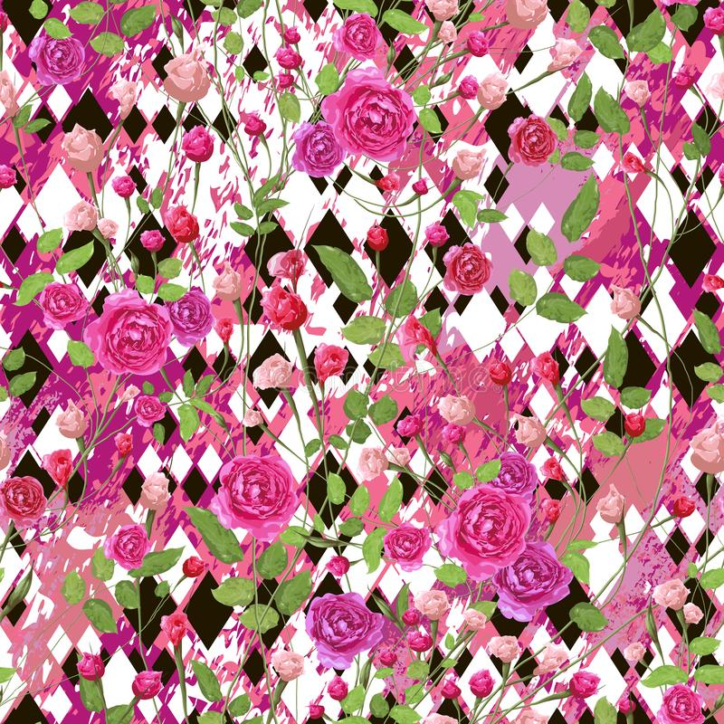 Pink rose flowers with leaves and different size black and white rhombuses. vector illustration