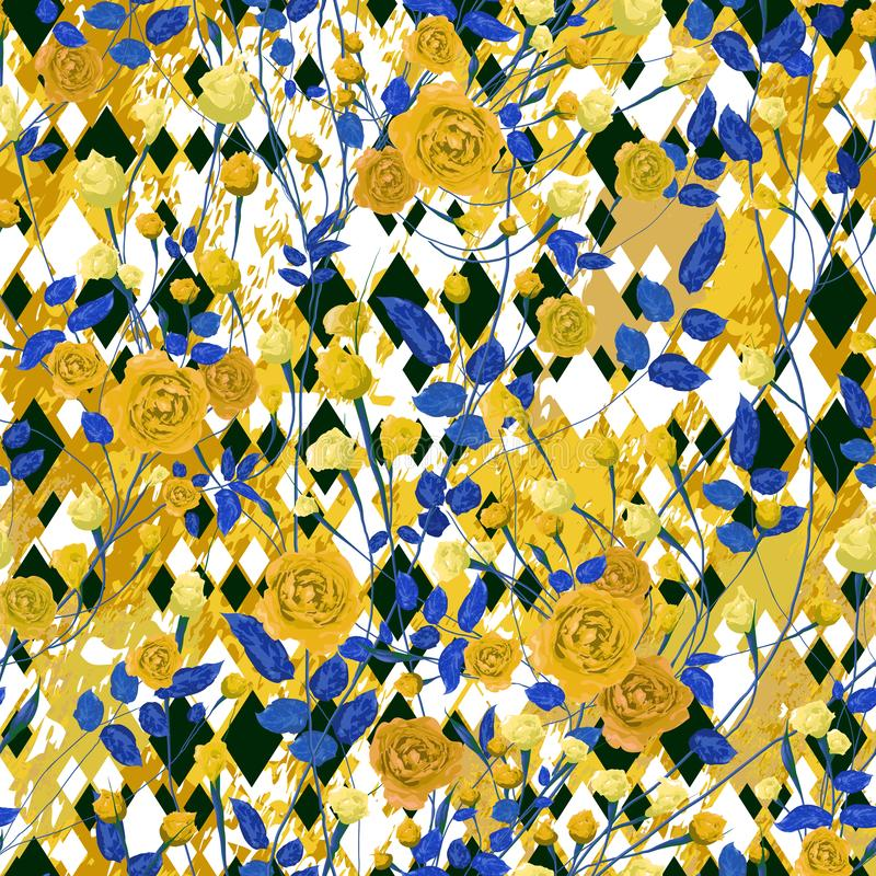 Yellow rose flowers with blue leaves on textured background. stock illustration