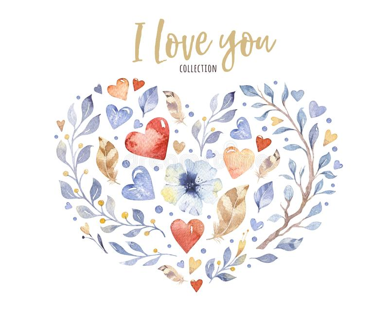 Beautiful floral love heart shape for valentine`s day or wedding design. Watercolor spring beautiful flowers decoration stock illustration