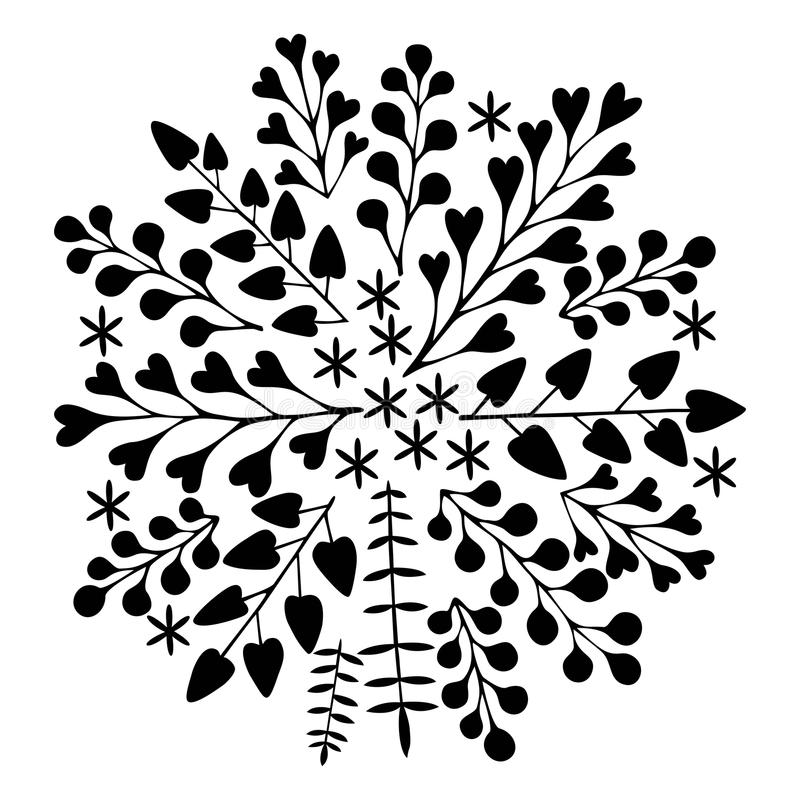 Beautiful floral ornament. Monochrome Vector holiday card. royalty free stock photography