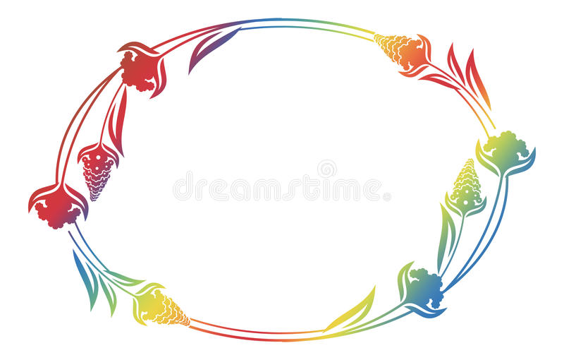 Beautiful floral oval frame with gradient fill. vector illustration