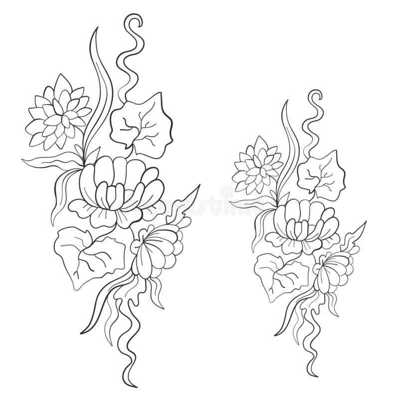 Beautiful floral pattern. Lily flowers, aquatic plants. Print. Coloring page. Vector illustration stock photos