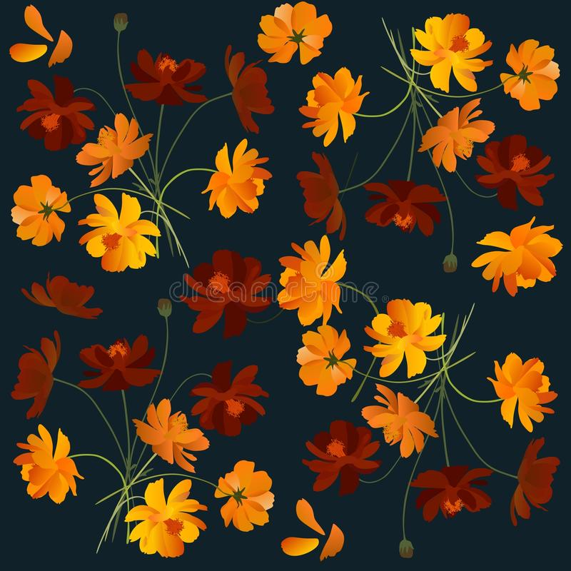 Beautiful floral pattern with orange cosmea flowers vector illustration