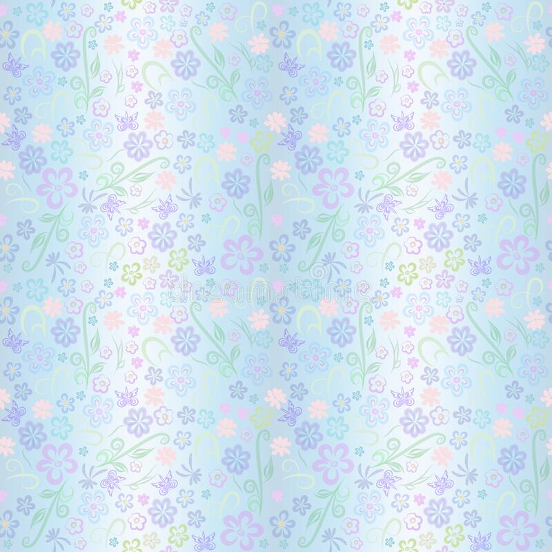 Free Beautiful Floral Pattern Pastel Colors. Many Small Decorative Flowers And Curls On Blue;background Illustration For Design Cambric Royalty Free Stock Image - 193486926