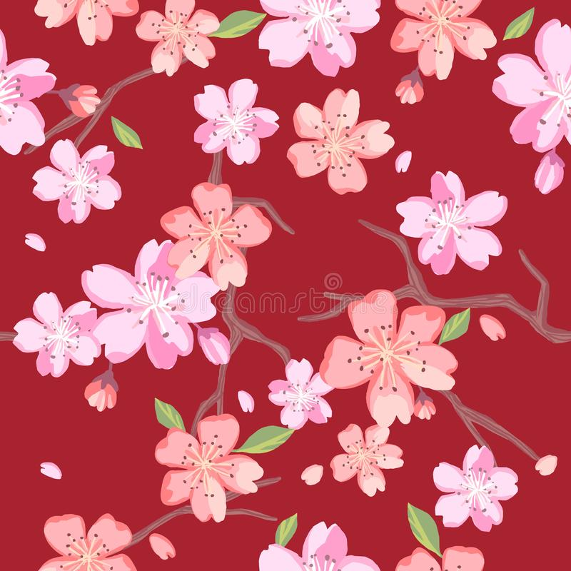 Beautiful floral patterns in japanese style. Vector royalty free illustration