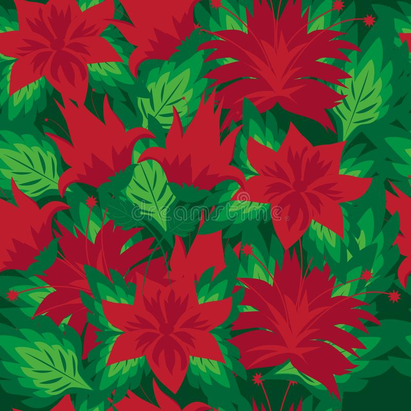 Beautiful floral seamless pattern with bright scarlet flowers on green background vector illustration