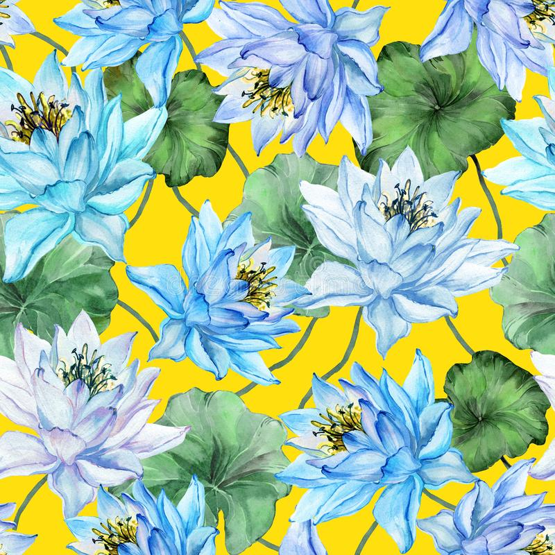 Beautiful floral seamless pattern. Large blue lotus flowers with green leaves on yellow background. Hand drawn illustration. Watercolor painting. Design of stock illustration