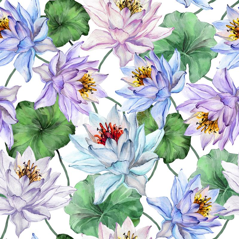 Beautiful floral seamless pattern. Large blue and purple lotus flowers with leaves on white background. Hand drawn illustration. Watercolor painting. Design of vector illustration