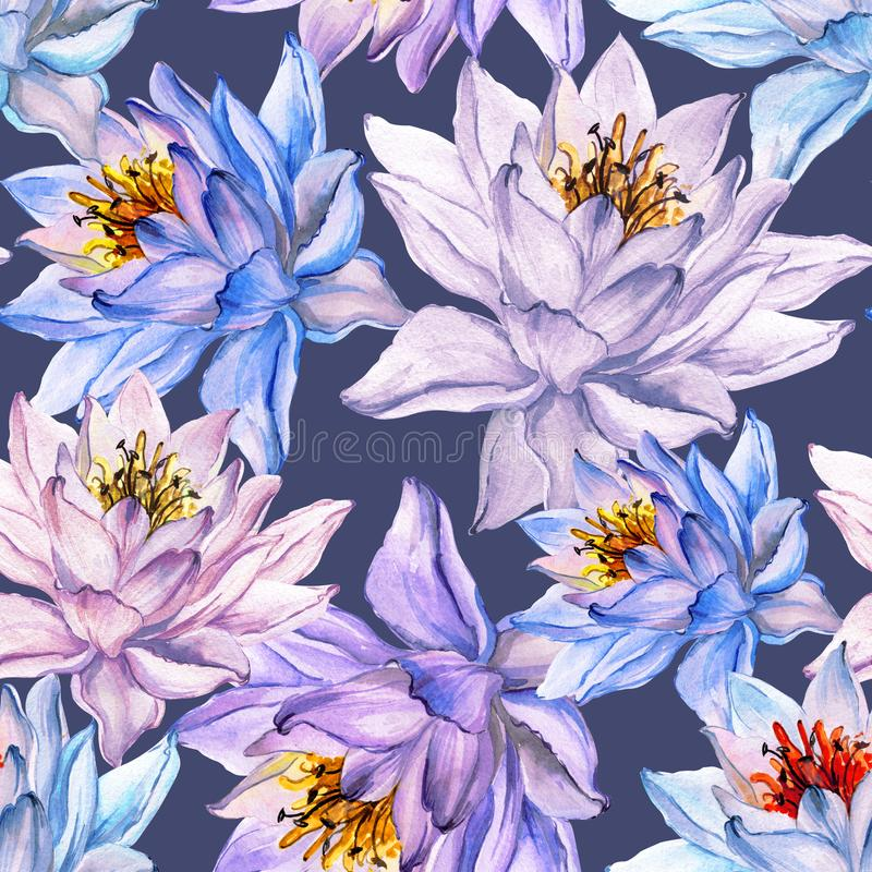 Beautiful floral seamless pattern. Large colorful lotus flowers on gray background. Hand drawn illustration. Watercolor painting. Can be used as a design of vector illustration