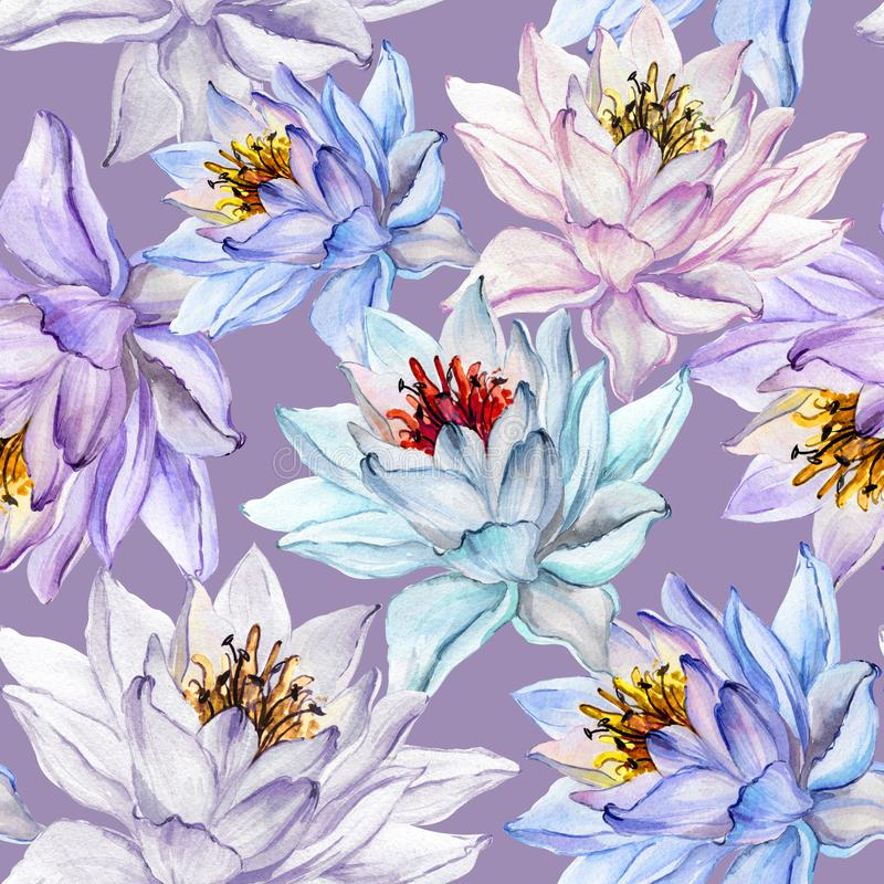 Beautiful floral seamless pattern. Large colorful lotus flowers on lilac background. Hand drawn illustration. Watercolor painting. Can be used as a design of vector illustration