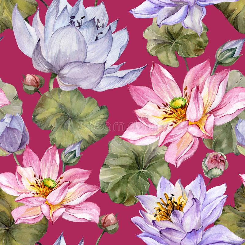 Beautiful floral seamless pattern. Large pink and purple lotus flowers with leaves on red background. Hand drawn illustration. Watercolor painting. Design of vector illustration