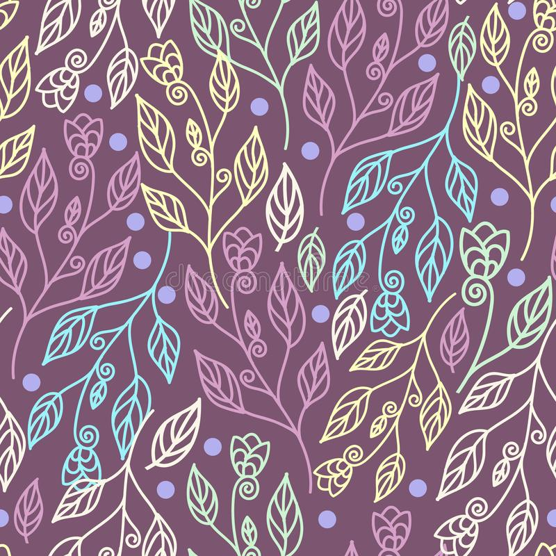Floral seamless pattern with leaves and flowers in purple background royalty free illustration