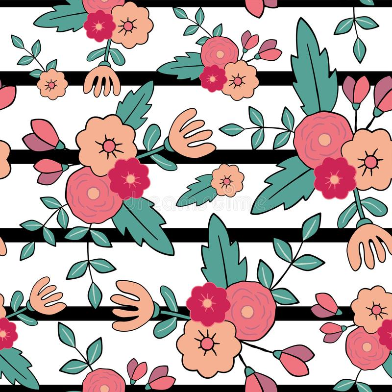Beautiful floral seamless pattern. Perfect for textile, wrapping, web and all kind of decorative projects. Vector illustration. stock illustration