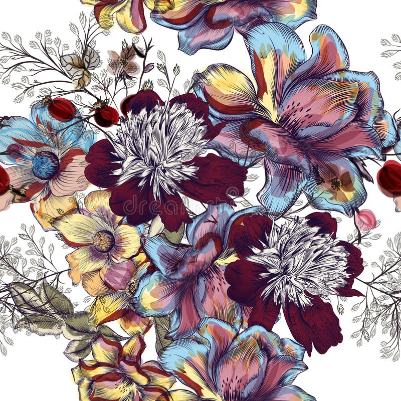 Beautiful floral vector pattern with peony flowers, cosmos and f vector illustration