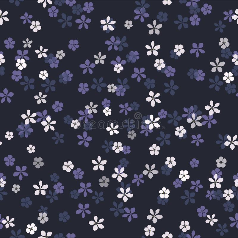 Small white, blue and purple flowers on navy blue background. Beautiful floral vector seamless pattern. Small white, blue and purple flowers on navy blue vector illustration