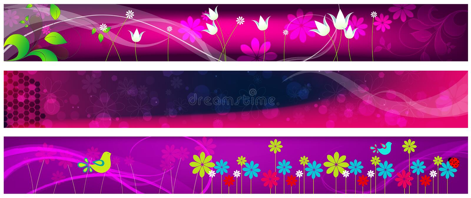 Download Beautiful Floral Web Banners Stock Vector - Illustration of element, concept: 14631367