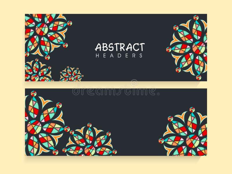 Beautiful floral website header or banner set. stock illustration