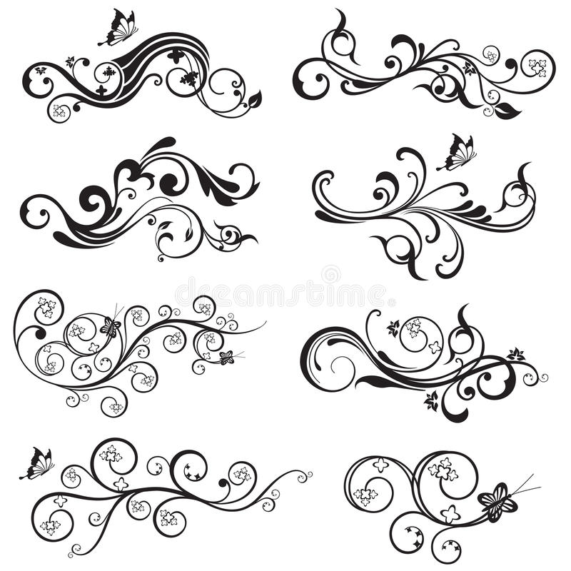 Free Beautiful Flower And Butterfly Silhouettes Design Royalty Free Stock Photo - 31013045