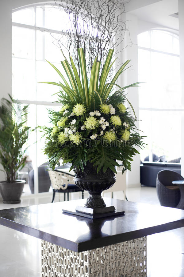 Foyer Table Flower Arrangements : Beautiful flower arrangement in large foyer stock photo