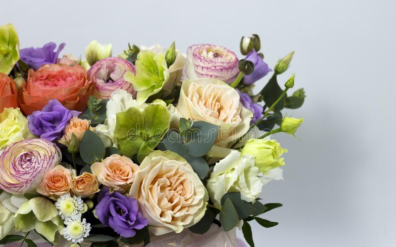 Beautiful flower arrangement on white background floral background stock photography