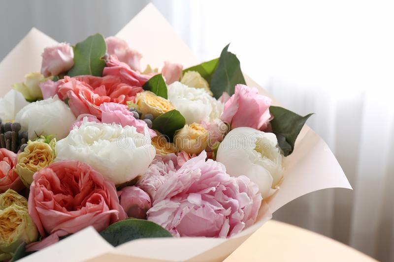 Beautiful flower bouquet in front of window,. Closeup stock photos