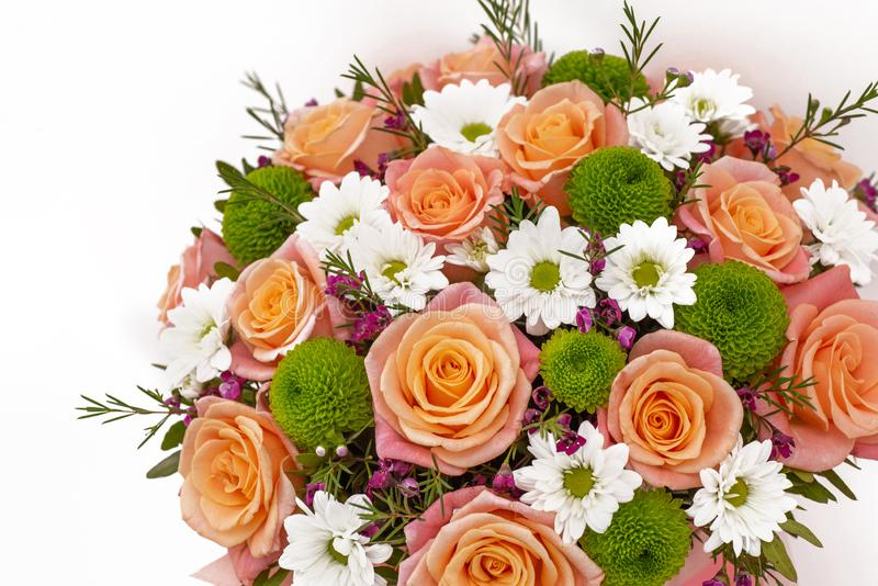 Beautiful flower bouquet, isolated on white background. Beautiful bouquet , isolated on white background royalty free stock images
