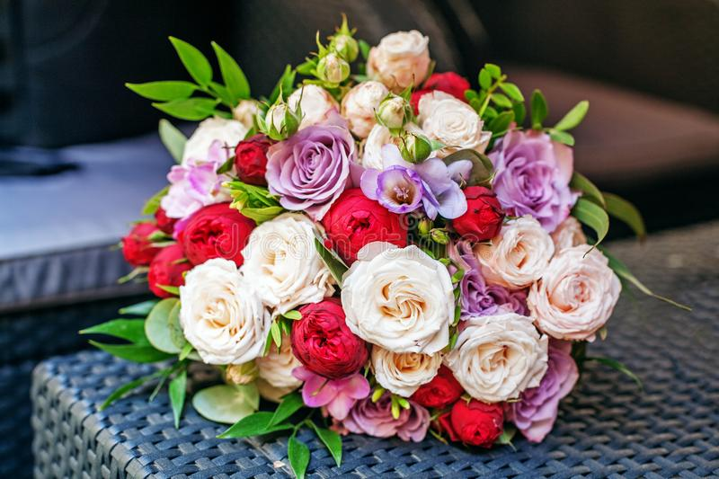 Beautiful flower bouquet. Romantic meeting. The concept of marriage and love. royalty free stock photos