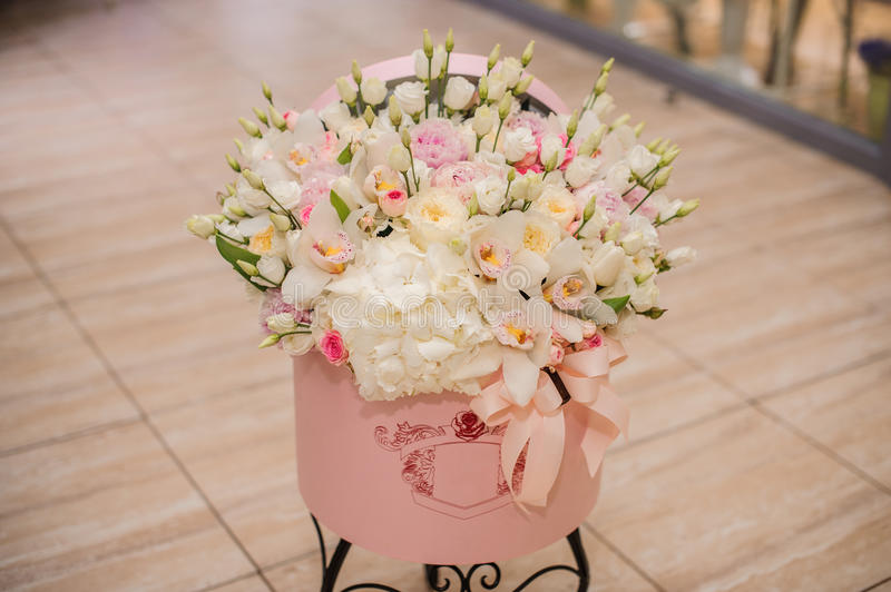 Beautiful Flower Bouquet In Round Box With Lid Stock Photo - Image ...