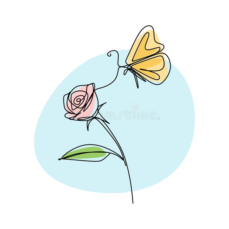 Beautiful flower with butterfly continuous line drawing vector illustration minimalist design vector illustration
