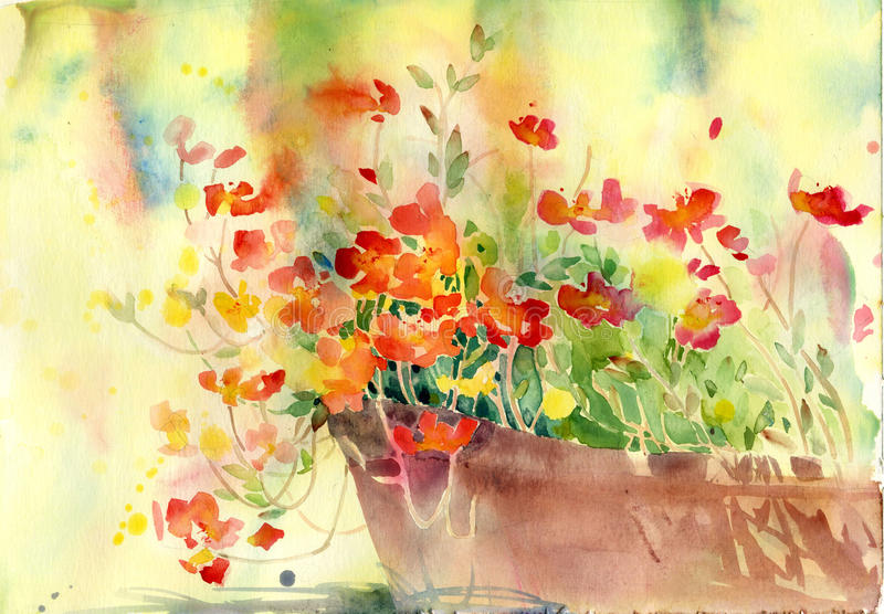 Beautiful flower for decoration. Watercolor paint flowers for decoration and print royalty free illustration