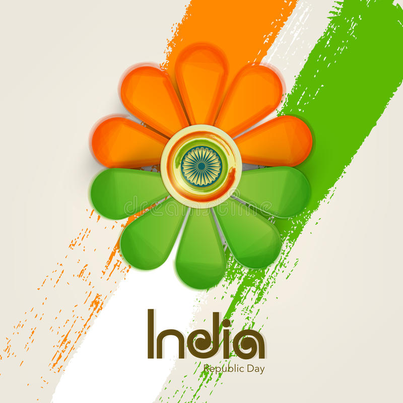 Download Beautiful Flower Design In National Flag Color With Ashok Wheel Stock Illustration