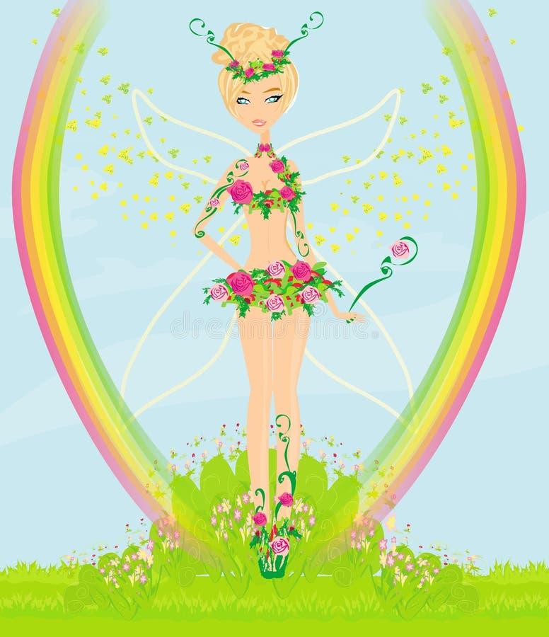Beautiful flower fairy stock illustration
