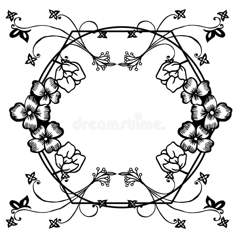Beautiful flower frame blooms, for banner, poster, and various of card. Vector stock illustration