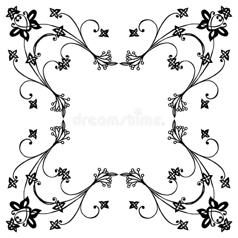 Beautiful flower frame blooms, for banner, poster, and various of card. Vector royalty free illustration