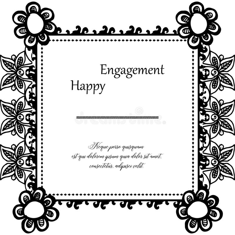Beautiful flower frame, color black white, for design card happy engagement. Vector royalty free illustration