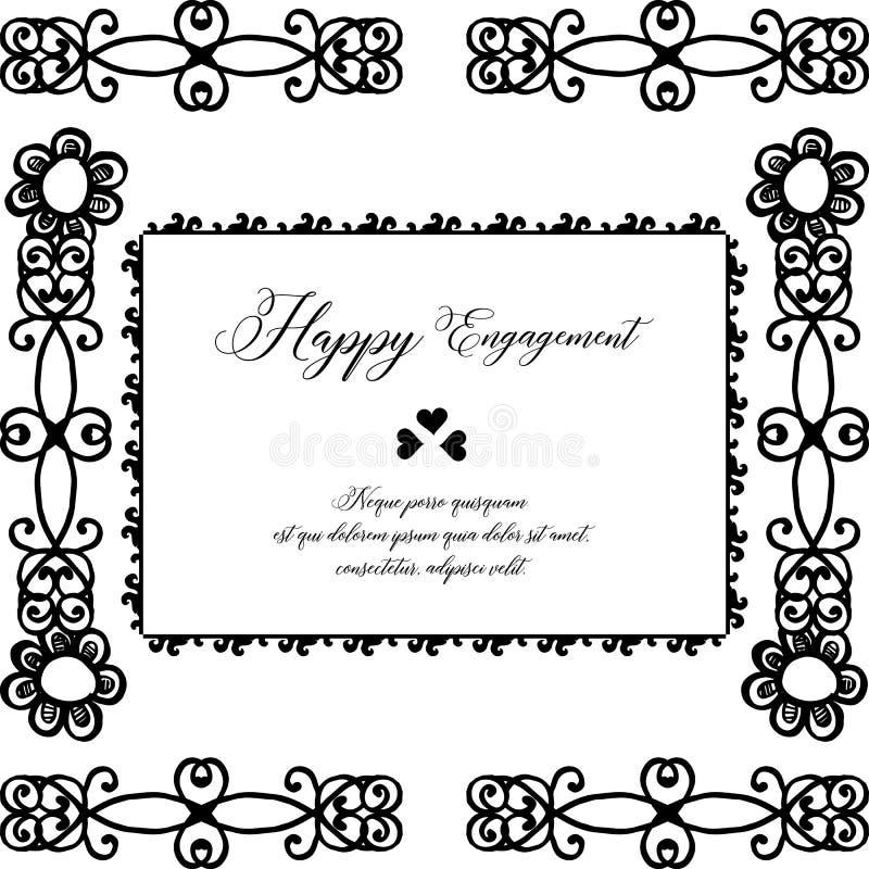 Beautiful flower frame, color black white, for design card happy engagement. Vector vector illustration
