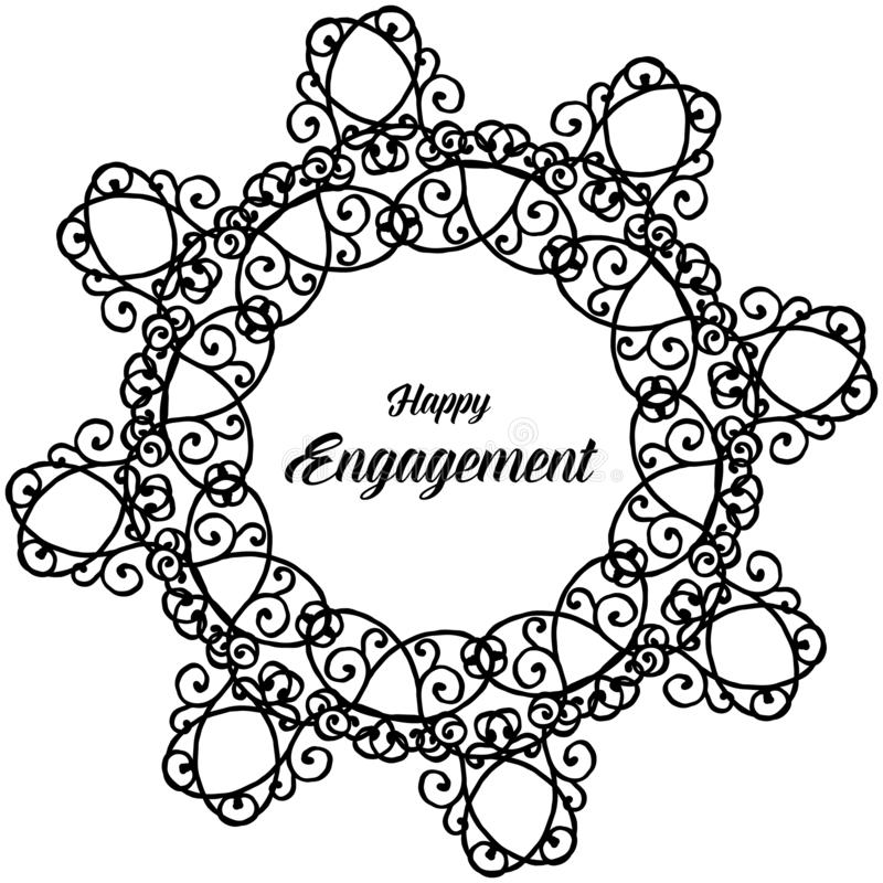 Beautiful flower frame, color black white, for design card happy engagement. Vector stock illustration