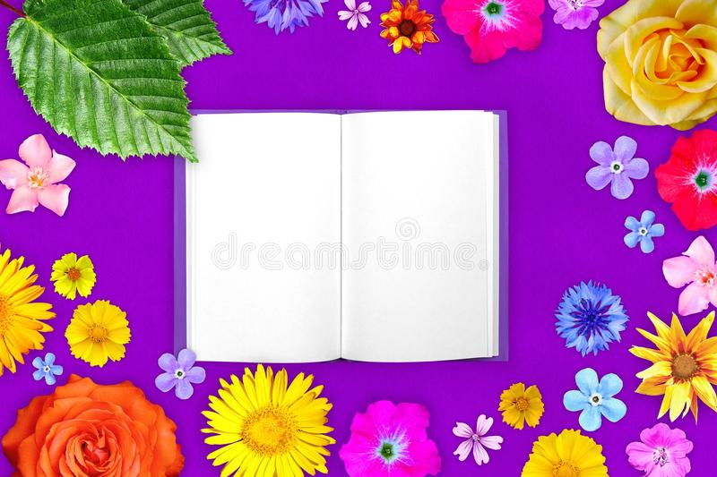 Beautiful flower frame with notepad in center on purple paper background. Floral composition of spring or summer flowers. stock photo