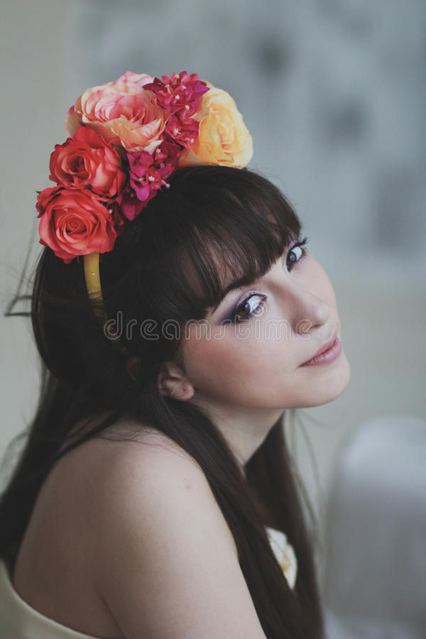 Beautiful flower girl. Portrait of a beautiful flower girl stock images
