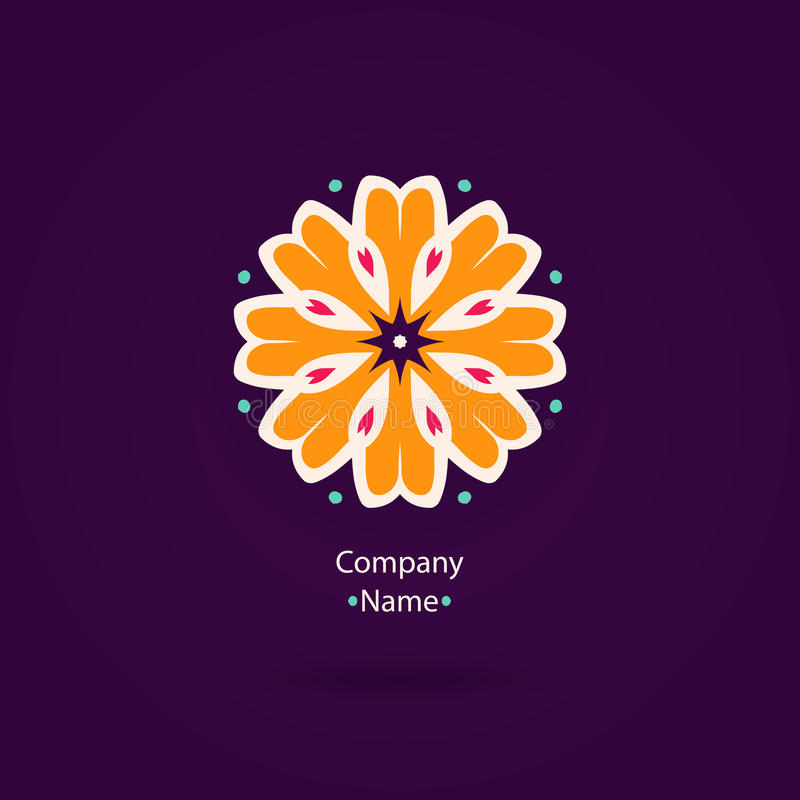 Beautiful Flower logo. Vintage. Striped logotype. Orange logotype. vector illustration