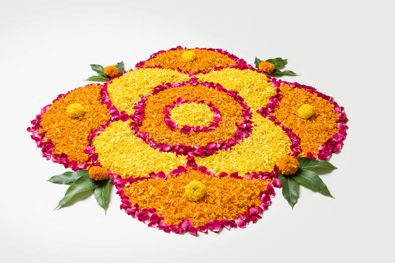 Download Beautiful Flower Rangoli Or Decoration With Clay Lamp For Diwali Any Indian Festival Stock
