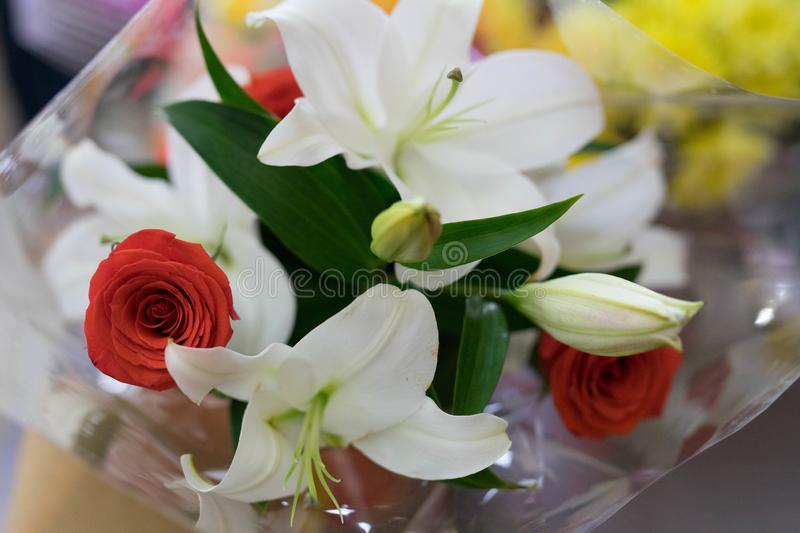 Beautiful flowers in a bouquet. For any holiday stock image