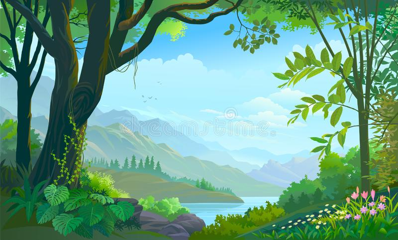 Tropical forest, big tree, plants and flowers, mountains and rivers. Beautiful flowers and bright green vegetation in a tropical forest royalty free illustration